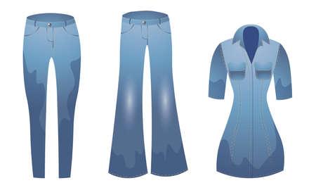 Set of stylish jeans denim clothing elements vector illustration