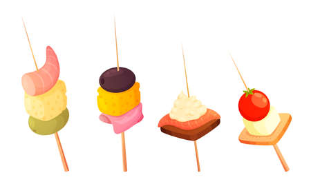 Different types of gourmet appetizers on skewers vector illustration Çizim