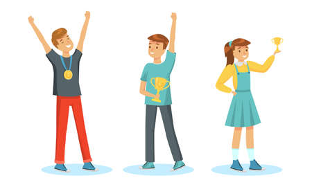 Set of children winners happy with victory vector illustration