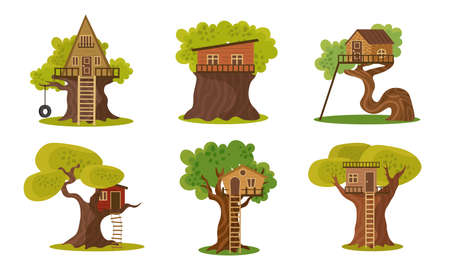 Set of different wooden houses on trees vector illustration 일러스트