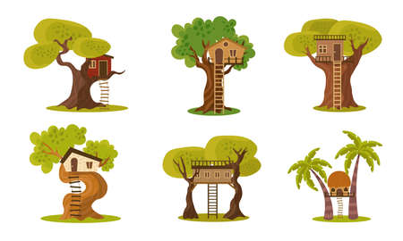 Set of different wooden houses on trees trunks vector illustration