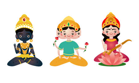 Different colorful sitting hindu in lotus pose deities vector illustration