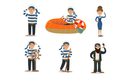 Men and women sailors in traditional blue uniform vector illustration