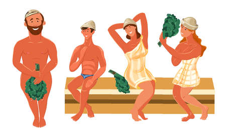 Set of people in towels enjoying bathhouse vector illustration