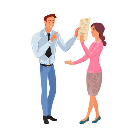 Business meeting of office woman and man. Vector illustration in flat cartoon style.