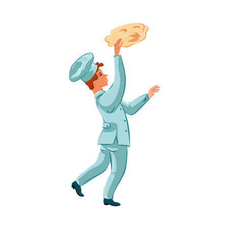 Happy chef-cook man tossing pizza dough into the air while kneading it. Vector illustration in flat cartoon style. Vector Illustratie