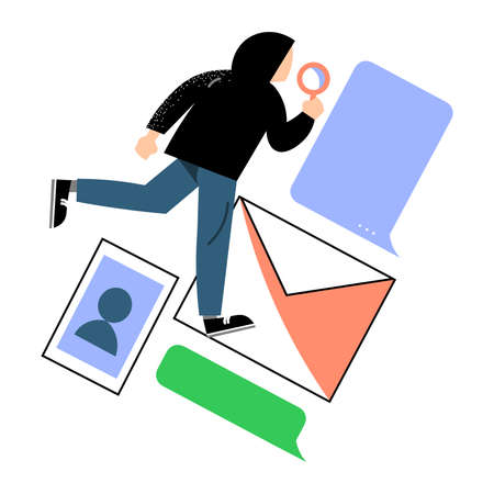 Hand drawn anonymous man criminal stealing data and information from email letters in internet electronic technologies over white background vector illustration. Cyber crime concept