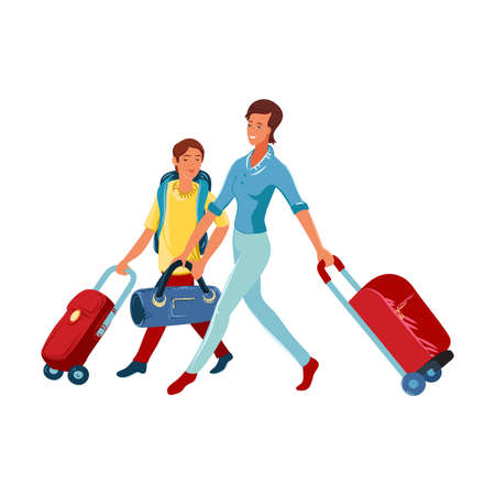 Cute brown-haired woman with a son carrying a red travel stroller suitcases. Vector illustration in flat cartoon style.