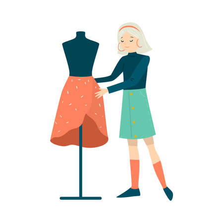 Woman standing and trying sewed skirt on mannequin vector illustration