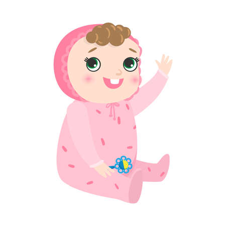 Cute happy smiling baby with the pacifier in hand and kinky hair sitting in pink pajama and waving a hand. Baby emotions concept. Isolated vector illustration on white background in cartoon style.