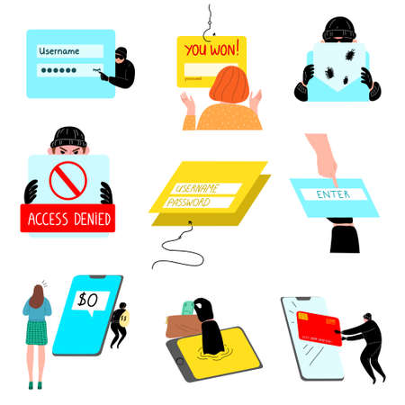 Set of hacking the internet social network concept. Vector illustration in flat cartoon style.
