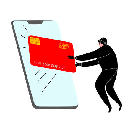 Cyber hacker thief stealing money from a smartphone online wallet, credit card. Vector illustration in flat cartoon style.