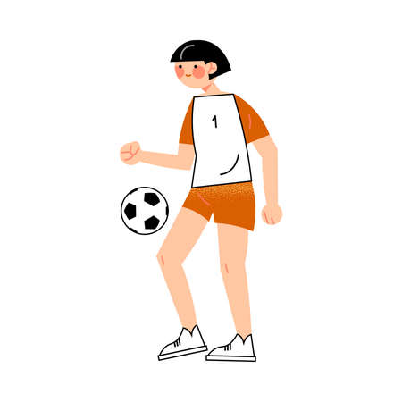 Female dark-haired soccer player in the red shorts hits the ball left side view. Vector illustration in flat cartoon style.