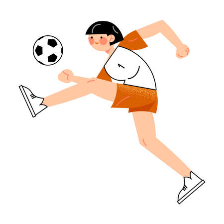 Female soccer player in the red shorts hits the ball left side view. Vector illustration in flat cartoon style. Vectores