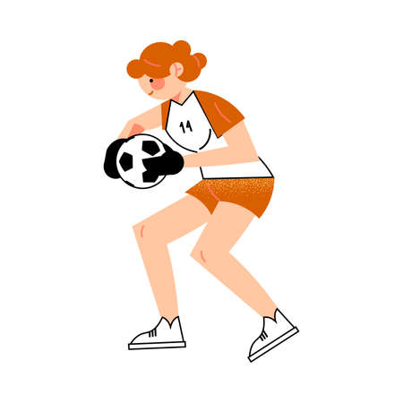 Female soccer goalkeeper player in the red shorts catches the ball right view. Vector illustration in flat cartoon style.  イラスト・ベクター素材