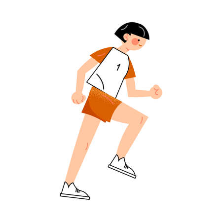 Female soccer player in the red shorts runs right view. Vector illustration in flat cartoon style. Ilustração