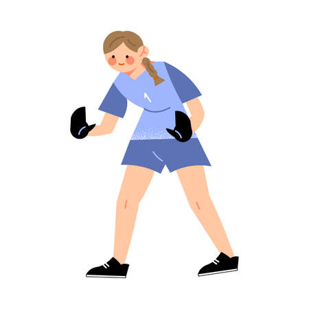 Female soccer goalkeeper player in the blue t-shirt left side view. Girl football player in action concept. Isolated vector icon illustration on white background in cartoon style.