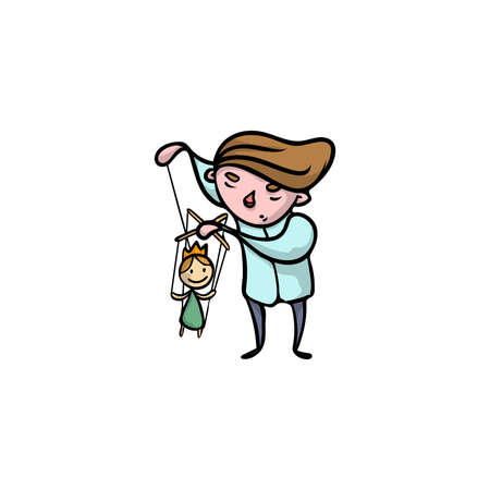 Puppeteer with princess wooden puppet vector illustration Illustration