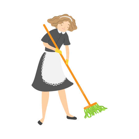 Light-haired smiling housemaid with a mop washing the floor. Vector illustration in flat cartoon style.