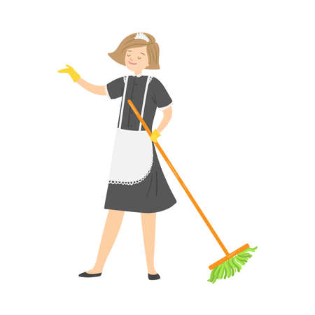 Light-haired smiling housemaid posing with a mop. Vector illustration in flat cartoon style.