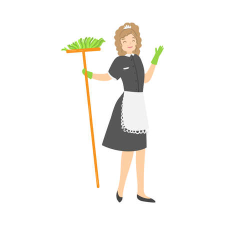 Light-haired housemaid in green rubber gloves posing with a mop. Vector illustration in flat cartoon style.