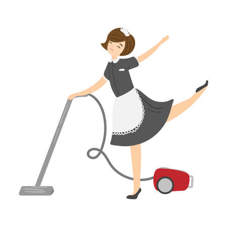 Brown-haired smiling housemaid posing with a vacuum cleaner. Vector illustration in flat cartoon style.