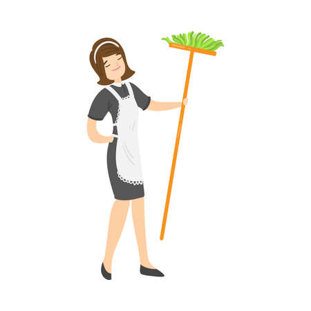 Brown-haired smiling housemaid posing with a broom. Vector illustration in flat cartoon style.