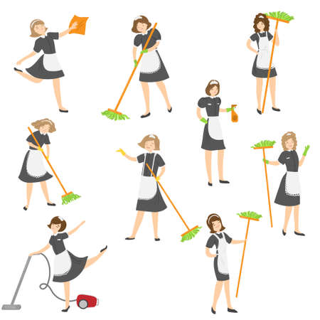 Set of cleaning housemaid ladies in different poses with the mop, vacuum, and duster. Vector illustration in flat cartoon style.