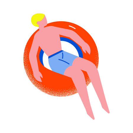Young blond-haired man in blue shorts resting on the red floating rubber ring in the sea, ocean or swimming pool. Isolated vector icon illustration on white background in cartoon style.