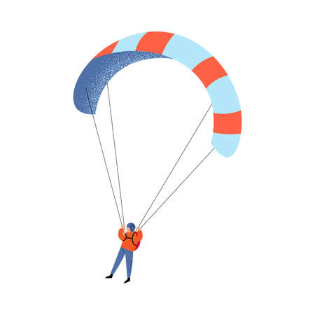 Parachute jumper in blue pants flying with the striped colorful parachute. Vector illustration in a flat cartoon style.
