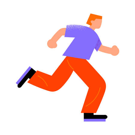 Parkour red-haired man in red pants running to do a trick. Vector illustration in a flat cartoon style. 向量圖像