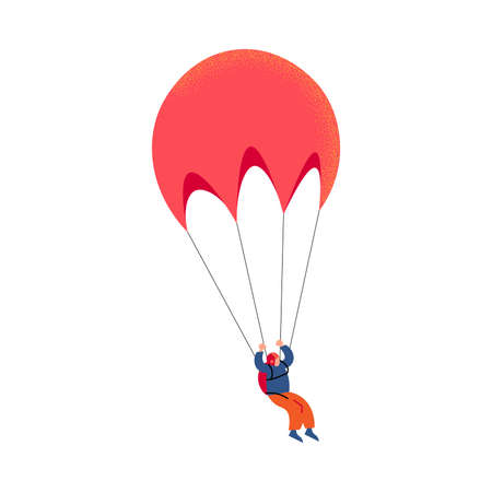 Parachute jumper in orange pants flying with the red parachute. Vector illustration in a flat cartoon style. Vektorgrafik