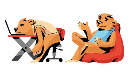 Brown bears in everyday business office life vector illustration