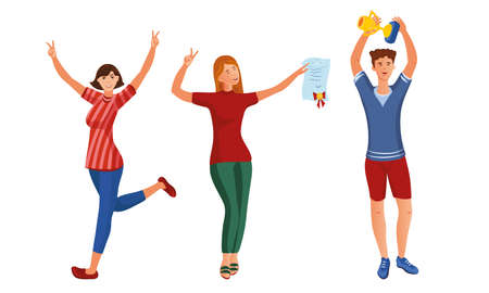 Set of happy young people with the winner cup and diploma. Vector illustration in flat cartoon style.