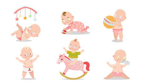 Collection set of a cute smilling baby in different situations. Various child activities concept. Isolated icons set illustration on a white background in cartoon style. Illustration