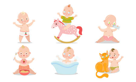 Collection set of a cute smilling baby in different situations. Various child activities concept. Isolated icons set illustration on a white background in cartoon style.  イラスト・ベクター素材