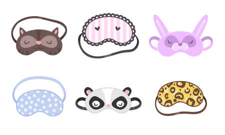 Set of different funny sleeping masks. Vector illustration in flat cartoon style.