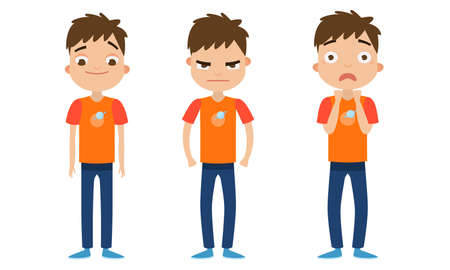 Set of a cute brown-haired boy in blue pants with different facial emotions. Vector illustration in flat cartoon style.