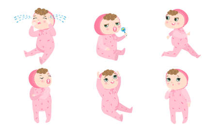 Set of a cute baby in pink pajama with different emotions and situations. Vector illustration in flat cartoon style.