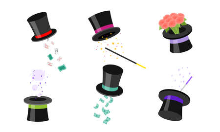 Set of the magic hat with different tricks. Vector illustration in flat cartoon style. 向量圖像