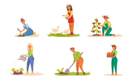 Collection set of people working on the farm. Caring for the garden, growing agricultural products, water the plants. Isolated icons set illustration on a white background in cartoon style. Stock Illustratie