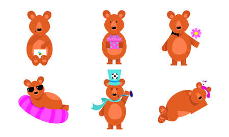 Collection set of humanized funny brown bears in different action situations. Funny bears life concept. Isolated vector icons set illustration on a white background in cartoon style.