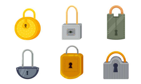 Set of different types of padlocks. Vector illustration in flat cartoon style.