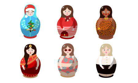 Set of nesting dolls in colorful costumes of different nationalities. Vector illustration in flat cartoon style.