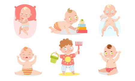 Set of a cute baby in underpants with different situations. Vector illustration in flat cartoon style. Illustration