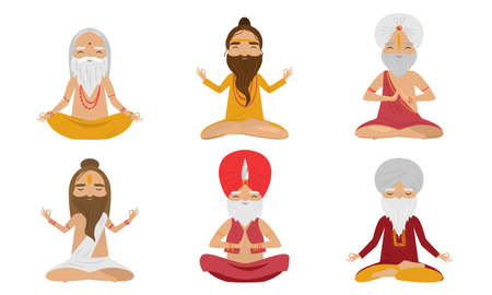 Collection set of meditating yogi sages men characters in the lotus position. Swami meditating concept. Isolated icons set illustration on a white background in cartoon style. Illustration