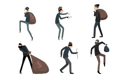 Collection set of thieves in masks and black suits in different action situations. Burglars at work concept. Isolated icons set illustration on a white background in cartoon style.