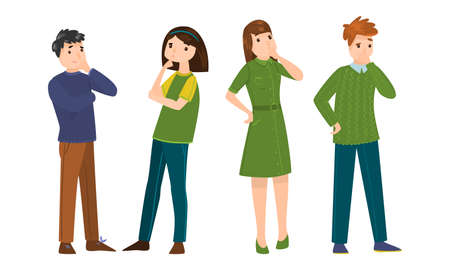Collection set of thoughtful male and female. Thinking young people concept. Isolated icons set illustration on a white background in cartoon style.
