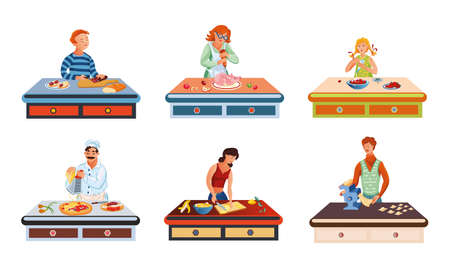 Set of different people cooking various food on the table. Vector illustration in flat cartoon style.