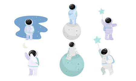 Set of spaceman in special spacesuits with different feelings. Vector illustration in flat cartoon style. Vectores